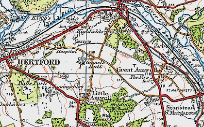 Old map of Rush Green in 1919