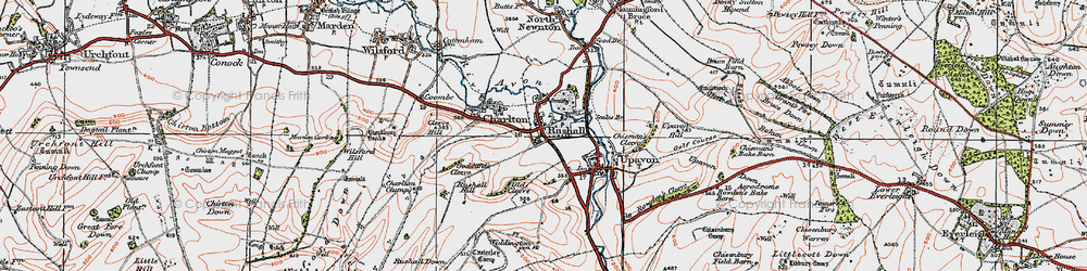 Old map of Rushall in 1919