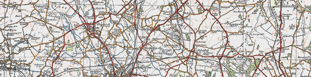 Old map of Rushall in 1921