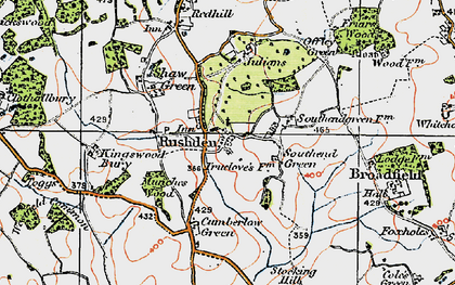 Old map of Rushden in 1919