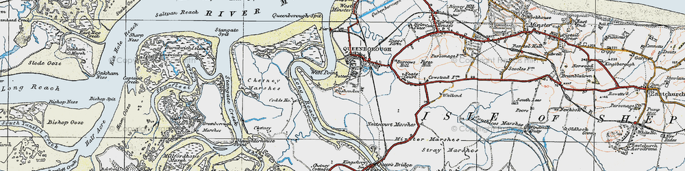 Old map of West Swale in 1921