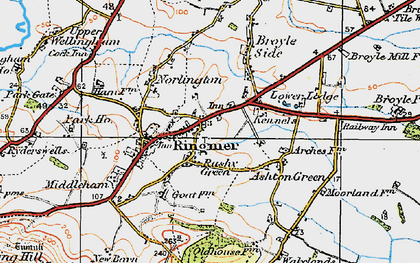 Old map of Rushy Green in 1920