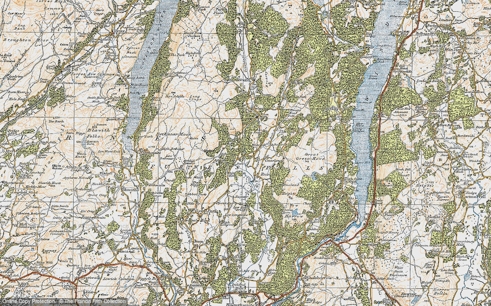 Old Map of Historic Map covering Thwaite Moss in 1925