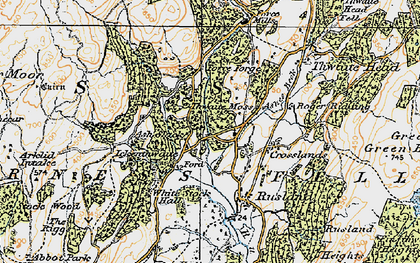 Old map of Thwaite Moss in 1925