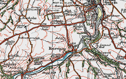 Old map of Ruswarp in 1925