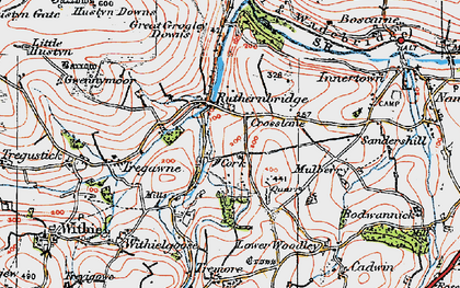 Old map of Ruthernbridge in 1919