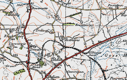 Old map of Ruthvoes in 1919