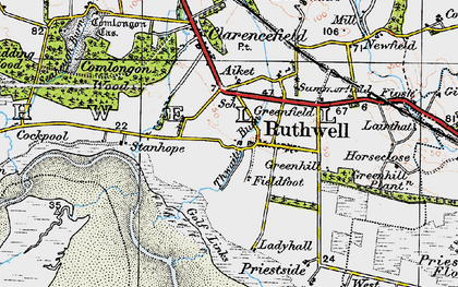Old map of Ruthwell in 1925