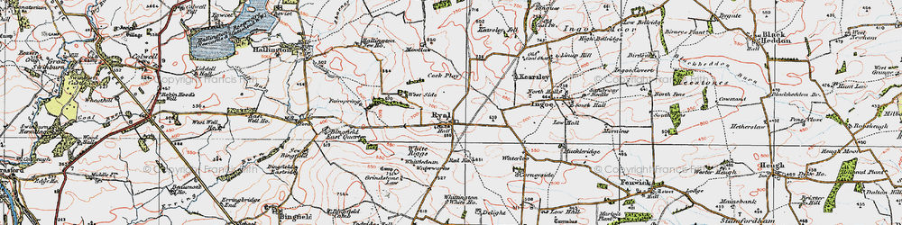 Old map of White Riggs in 1925