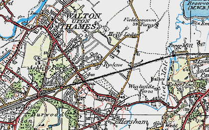 Old map of Rydens in 1920