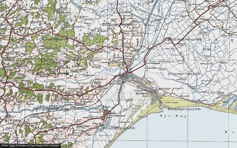 Old Map of Rye, 1921 in 1921