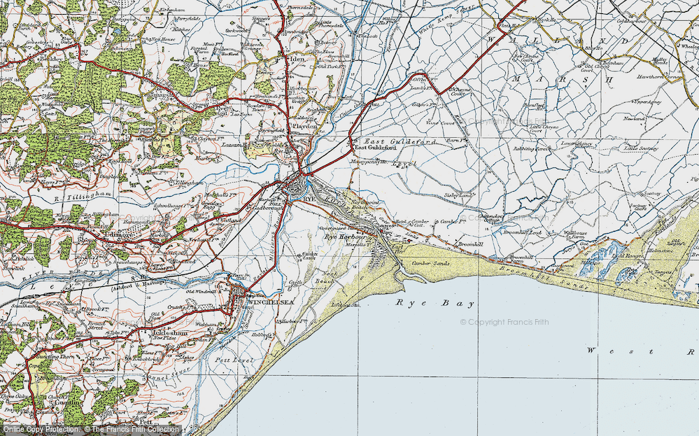 Old Map of Rye Harbour, 1921 in 1921