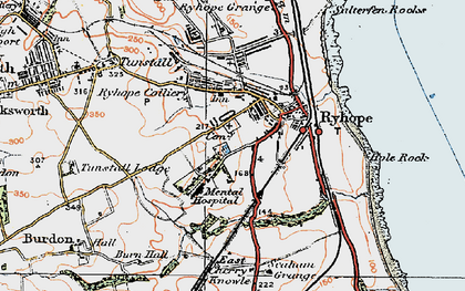 Old map of Ryhope in 1925