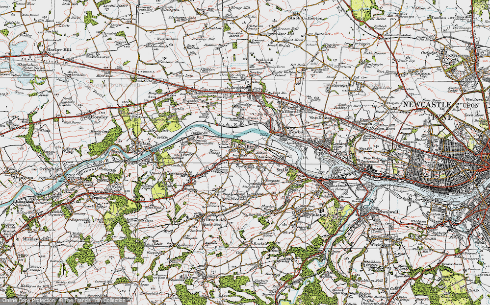 Old Map of Ryton, 1925 in 1925