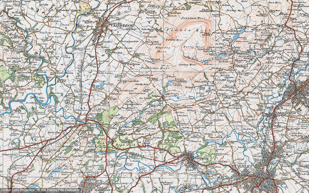 Old Map of Historic Map covering White Hill in 1924