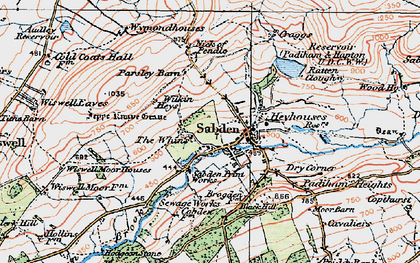 Old map of Sabden in 1924