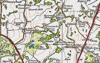 Old map of Sacombe Green in 1919