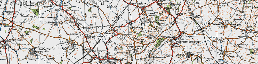 Old map of Willersey Hill in 1919