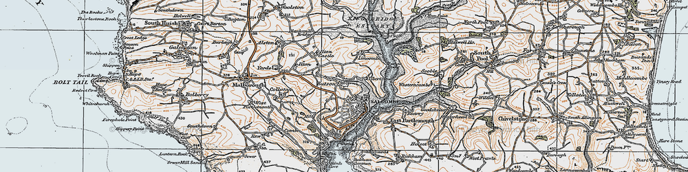Old map of Salcombe in 1919