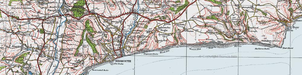 Old map of Salcombe Regis in 1919