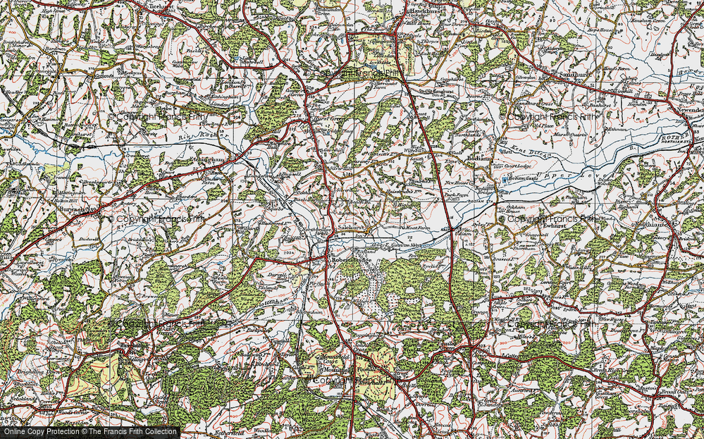 Old Map of Historic Map covering Bantony in 1921