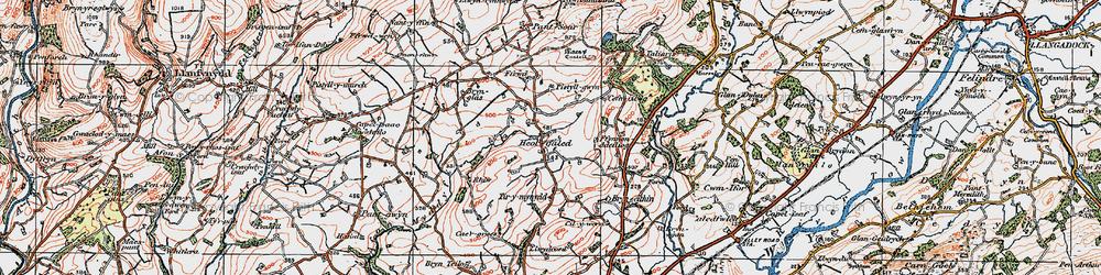 Old map of Afon Myddyfi in 1923