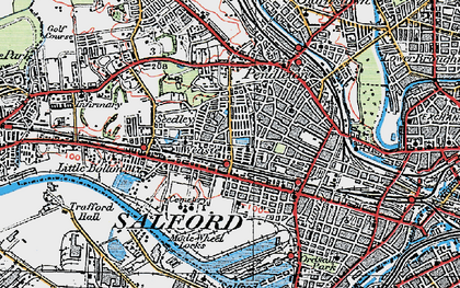 Old map of Salford in 1924