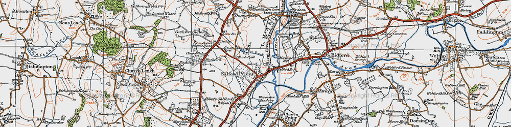 Old map of Salford Priors in 1919