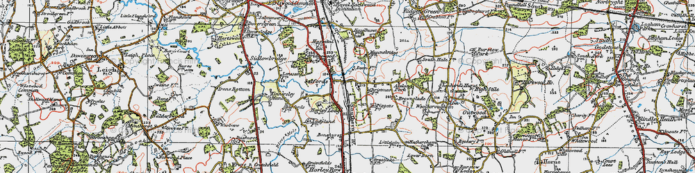 Old map of Salfords in 1920