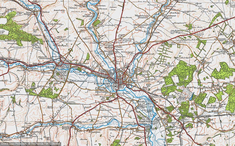 Map Of Salisbury Map of Salisbury, 1919   Francis Frith