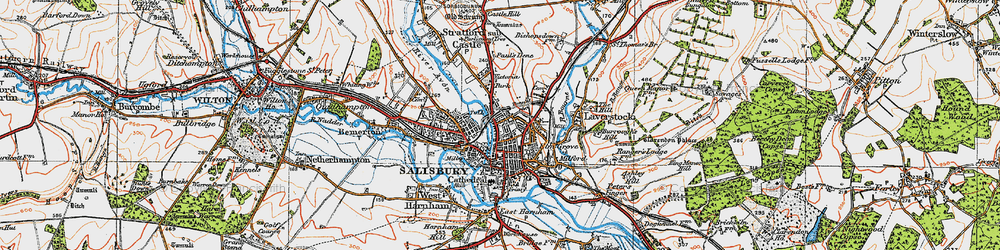 Old map of Salisbury in 1919