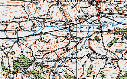 Old map of Yeoton Br in 1919