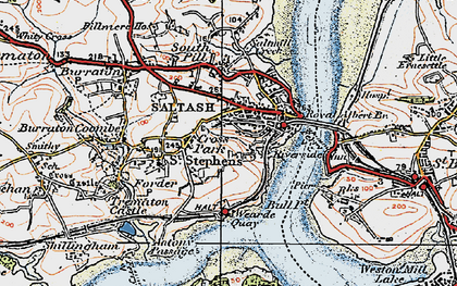 Old map of Saltash in 1919