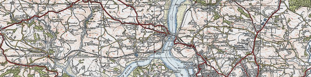 Old map of Saltash in 1919
