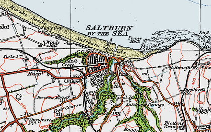 Old map of Saltburn-By-The-Sea in 1925