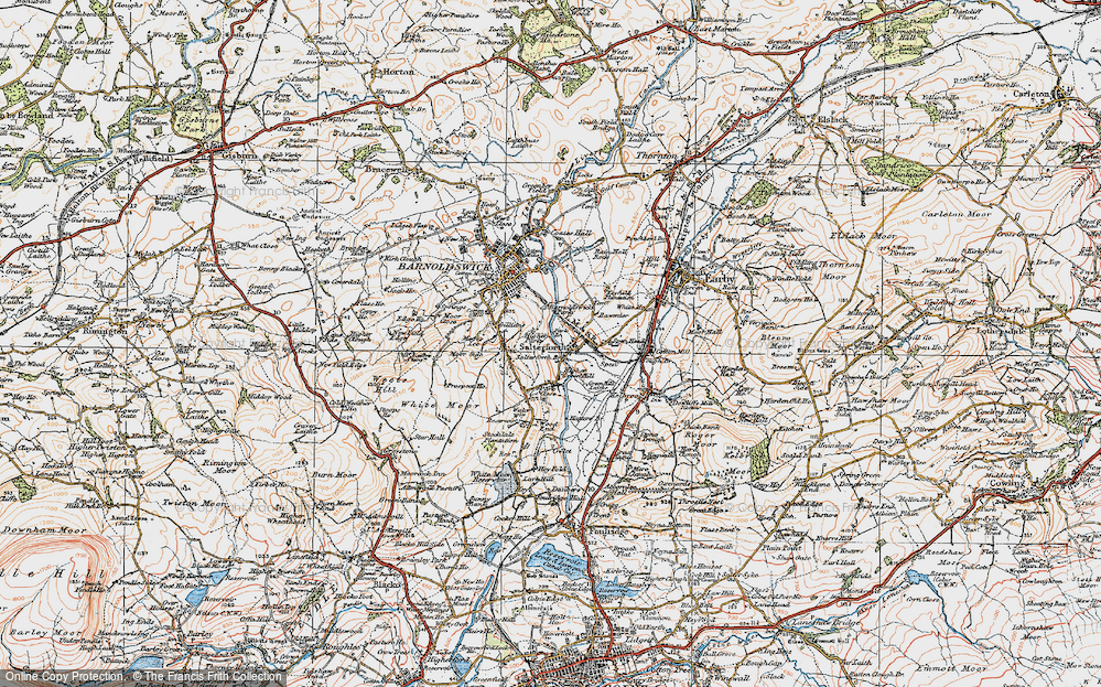 Old Map of Historic Map covering Letcliffe Country Park in 1924