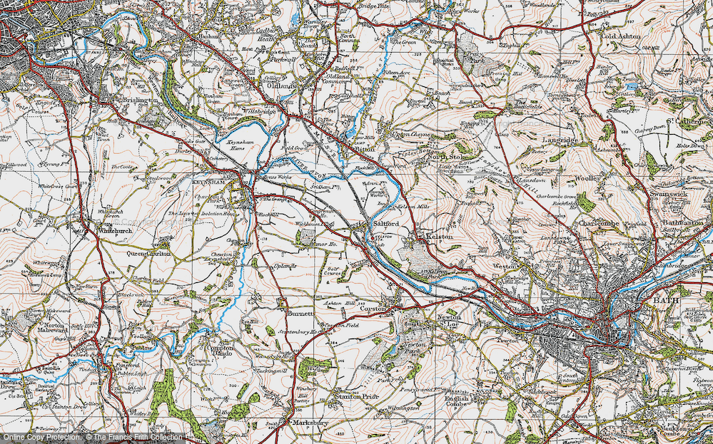 Old Map of Historic Map covering Avon Valley Country Park in 1919