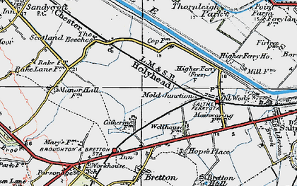 Old map of Saltney Ferry in 1924