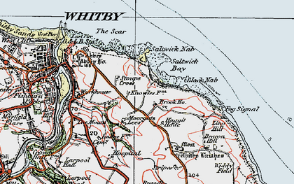 Old map of Saltwick Bay in 1925