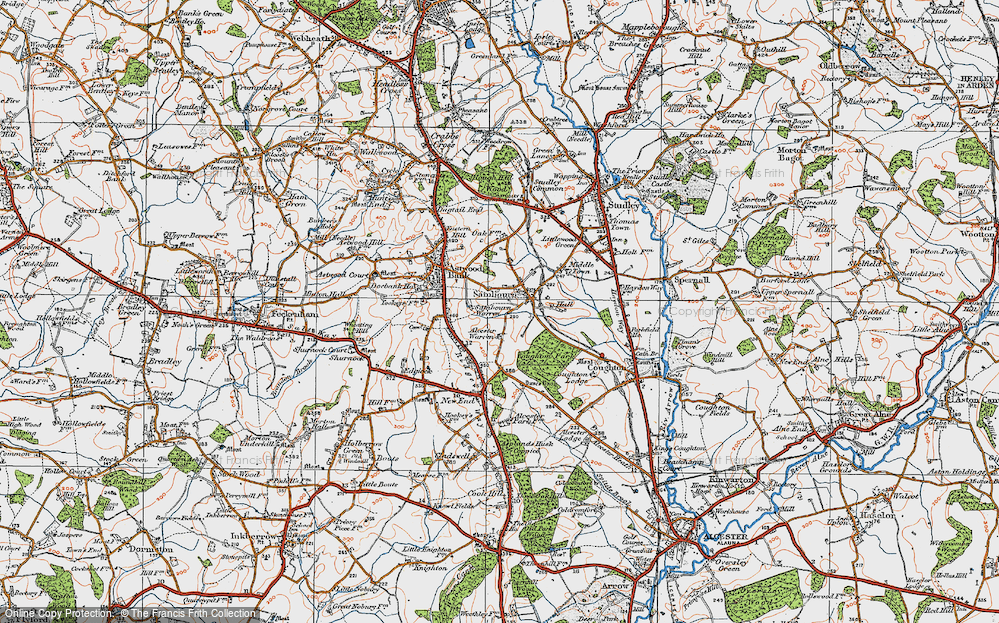 Old Map of Historic Map covering Alcester Warren in 1919