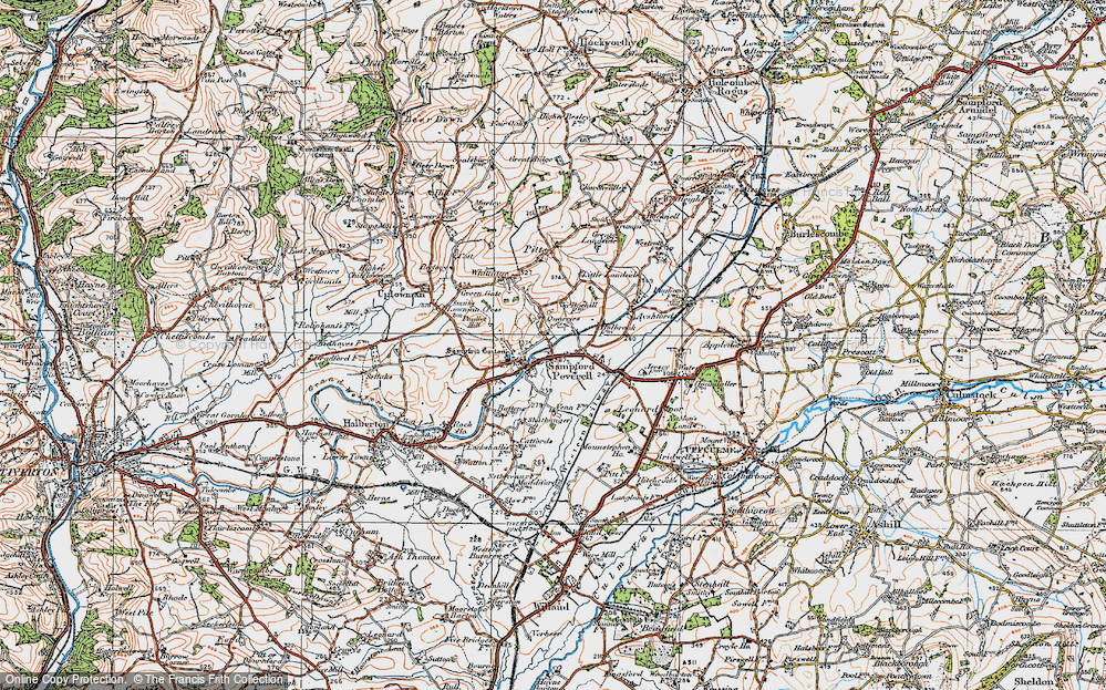Old Map of Sampford Peverell, 1919 in 1919