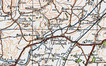 Old map of Sampford Peverell in 1919