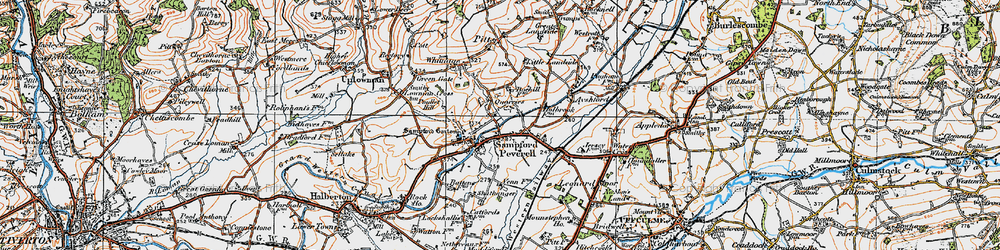 Old map of Tiverton Parkway in 1919