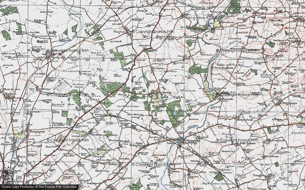 Old Map of Sand Hutton, 1924 in 1924