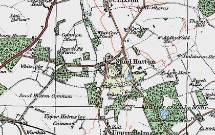 Old map of Sand Hutton in 1924