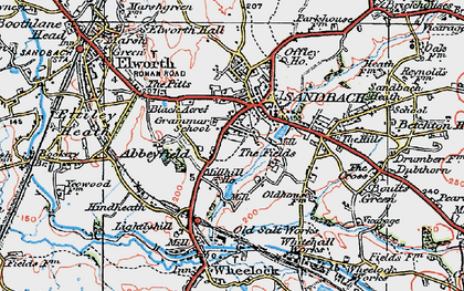 Old map of Sandbach in 1923