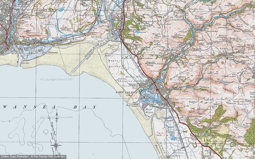 Old Map of Historic Map covering Aberavon Sands in 1922