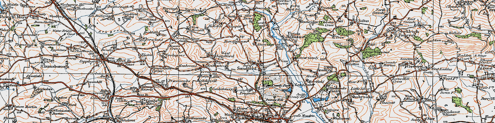 Old map of Aller Down in 1919