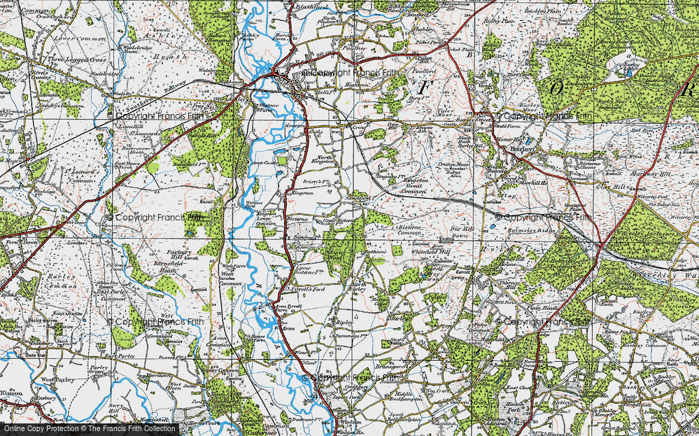 Old Map of Historic Map covering Avon Tyrrell in 1919