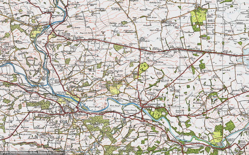 Old Map of Historic Map covering Acomb Fell in 1925